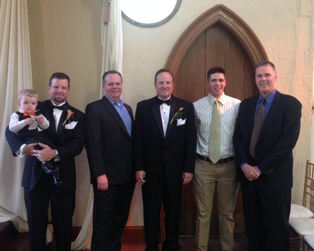 My cousin Aaron's son, Dax, my cousin Aaron, my brother-in-law, Steve;  my cousin Troy, my son Griffin, my husband Randy